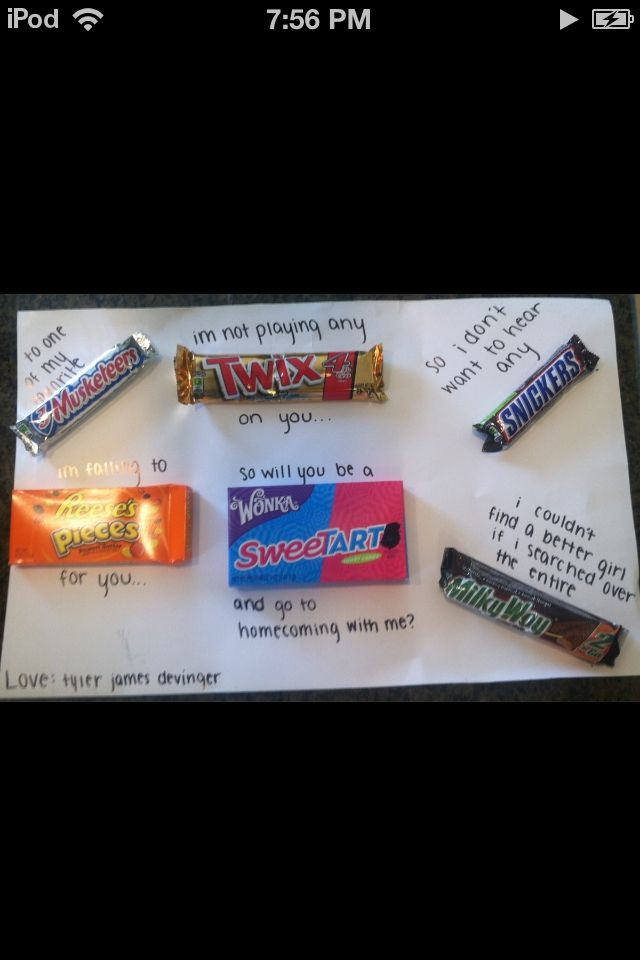 7 best other that i love images on pinterest dance proposal to one of my favourite musketeer im not playing any twix on you so will you be a sweetart and go to homecoming with me no many more cute ways to ask ccuart Image collections