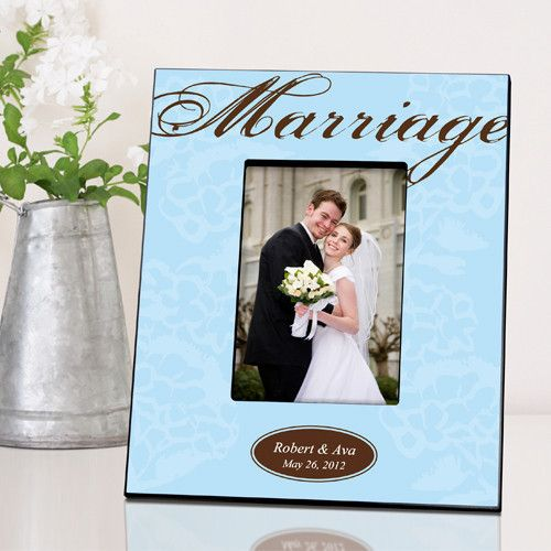 Couple's Frame - Marriage - Blue with Brown