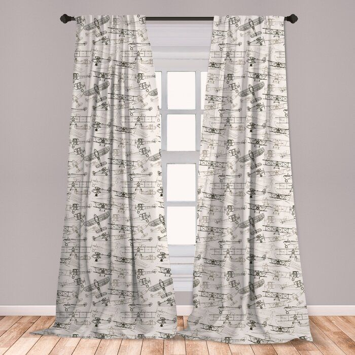 Ambesonne Airplane Curtains Old Fashioned Transportation Hand