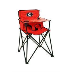 Georgia Bulldogs High Chair Portable Toddler Chair. The High Chair Features  A Clear Vinyl Tray