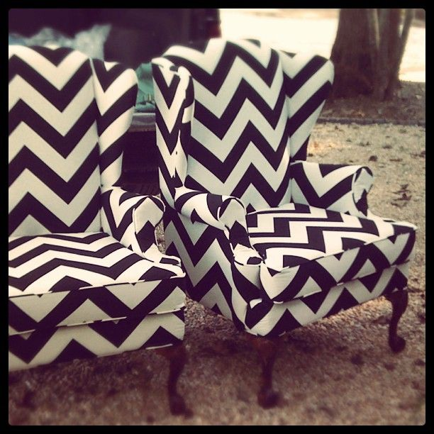 Black Chevron ChairsWings Chairs, Black And White, Chevron Chairs, Chevron Pattern, Living Room, Black White, Accent Chairs, Wingback Chairs, Chevron Stripes