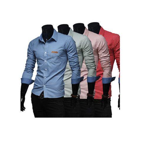 Mens Western Grid Long Sleeves Casual Dress Shirts 4 Colors
