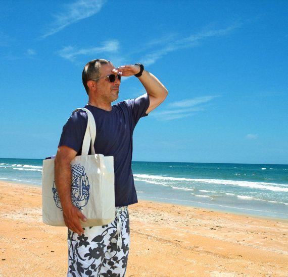 Nautical Swallow:  Organic Canvas Beach Tote