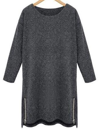 Dark Grey Round Neck Zipper Plus Dress