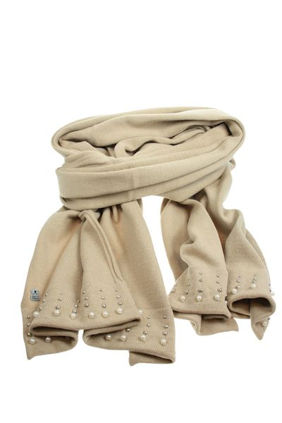 Nordic Bone Cotton Scarf With Pearl Detailing - White Apple Gifts