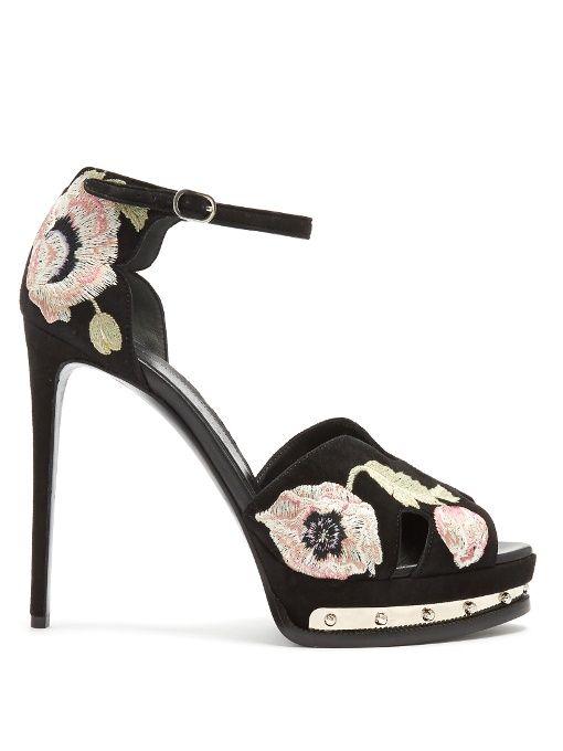 Alexander McQueen Poppy-embroidered suede sandals
