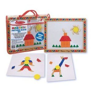 Learning Toys For 3 year Olds: Melissa & Doug Magnetic Pattern Block Kit Learning that shapes can make pictures is a lot of fun. Your child will have hours of fun while learning. http://bit.ly/1v0Lh4Z