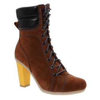 These Brown Suede Ankle Boots have a contrast coloured heel, as seen on the Vivienne Westwood SS14 runway #LFW #MaxMyStyle