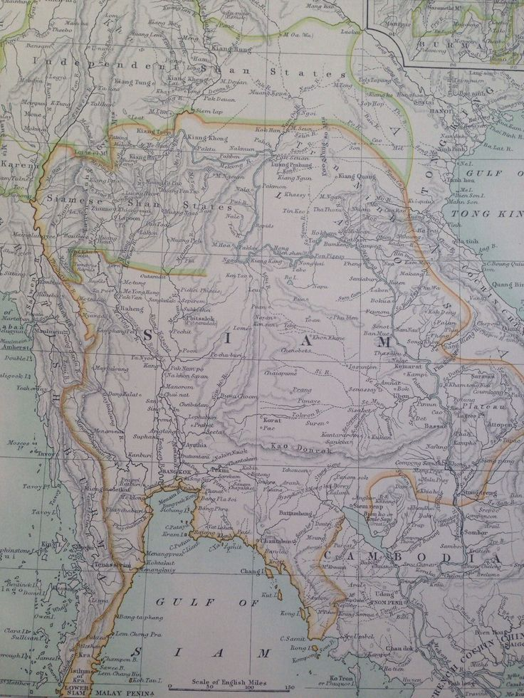 1875 SIAM Original Antique Map Thailand Southeast