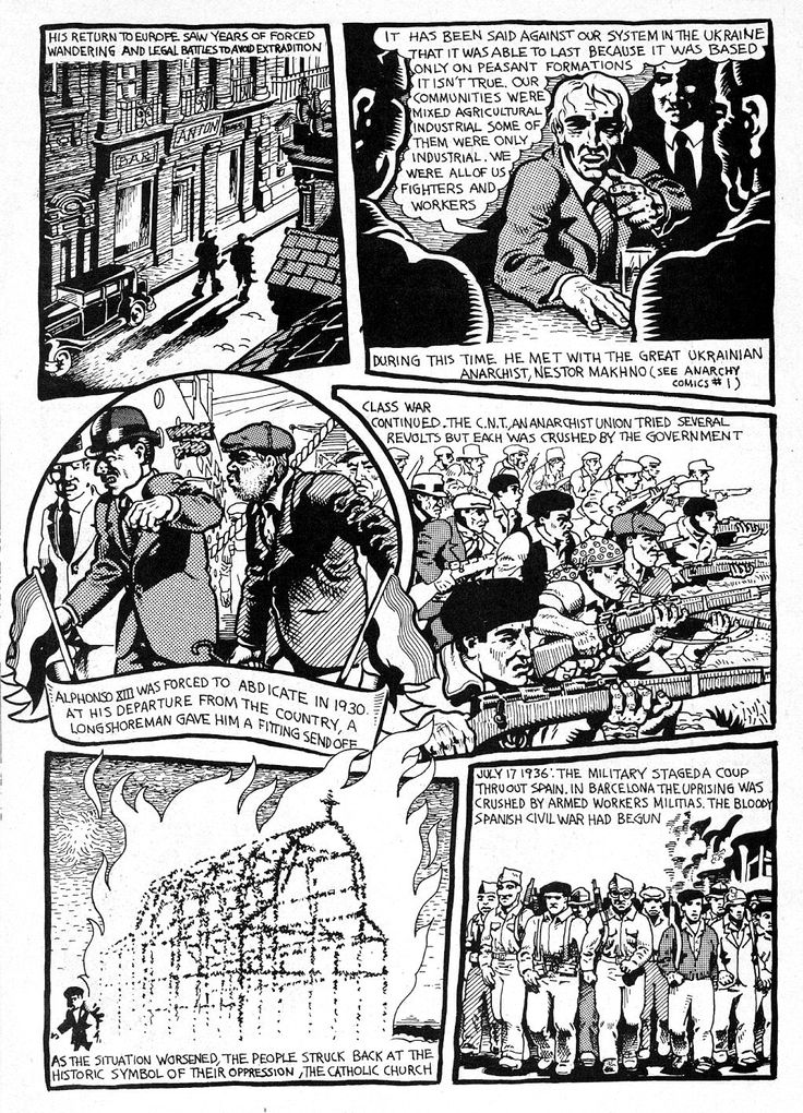 Buenaventura Durruti, p. 4. Anarchy Comics #2, 1979. Artist: Spain Rodriguez. Anarchy Comics was a series of underground comic books published by Last Gasp between 1978 and 1987, as part of the underground comix subculture of the era.