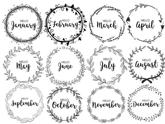 JOURNAL MONTHLY COVERS, wreath, monthly, bullet journal, printable bullet journal, pdf, cute, journaling, diary, month, organizational