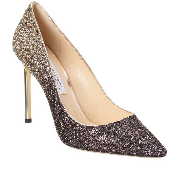 a0f41d1964 Jimmy Choo Romy 100 Coarse Glitter Degrade Pointy-Toe Pump ($450) ❤ liked  on Polyvore featuring shoes, pumps, metallic, nude pumps, pointy-toe pumps,  black ...