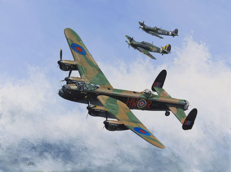 Avro Lancaster with escort Spitfire and Hurricane