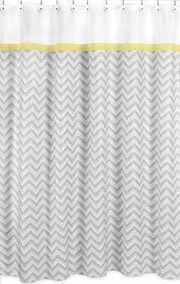 Grey Yellow Zig Zag Modern Kid Bathroom Decor Shower Curtain Sweet Jojo Designs