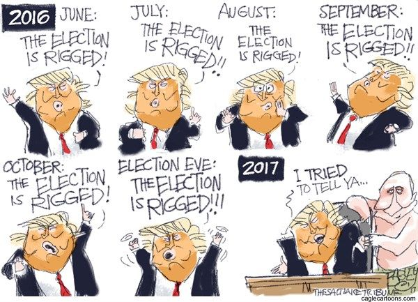 Pat Bagley - Salt Lake Tribune - Rigged Election - English - Rigged Election, 2016, Putin, Russia, Obama, Hillary, Clinton, Election, Rigged, Trump, lies, hacking, hacked election, polling, votes, meddling