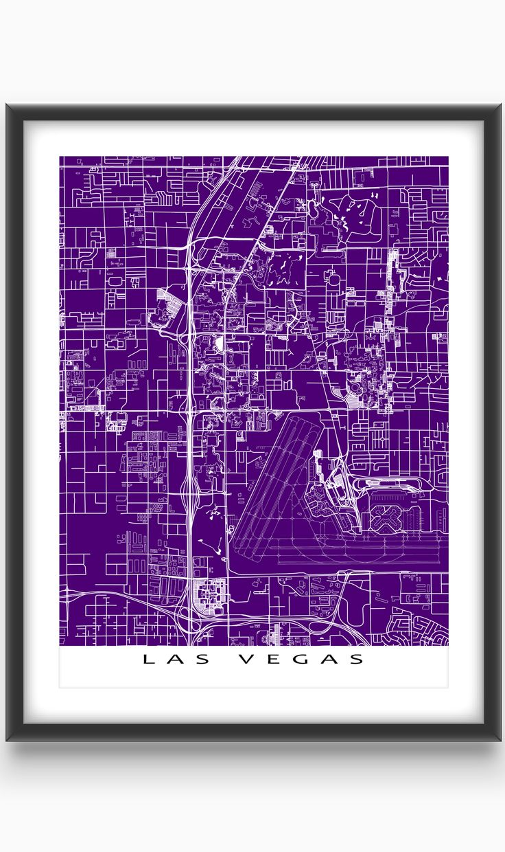 Las Vegas, #Nevada, USA  Modern, graphic and eye-catching. #LasVegas map print with a white street network design and buildings (including #strip hotels and pools!). Perfect for your #travel wall or to add to your existing home #decor.