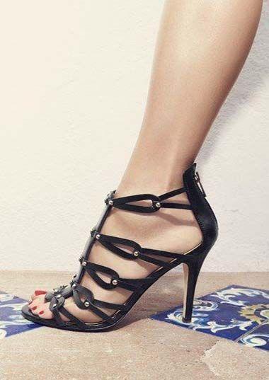 Black Strappy Sandal, Spring 2016