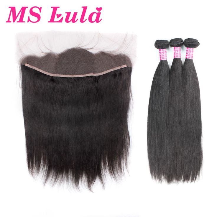 7A Grade Ms lula hair Peruvian Straight 3+1 Lace Frontal Closure With Bundles Set Free Shipping Peruvian hair weave soft thick