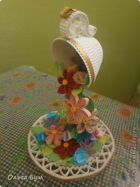 Produse de artizanat pe 8 martie Data nasterii Quilling ceașcă - cascada cu flori de hârtie din carton ondulat banda foto 1