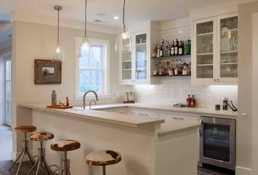 Modern farmhouse: Love the barstools Western look coupled with the clear glass pendant lights