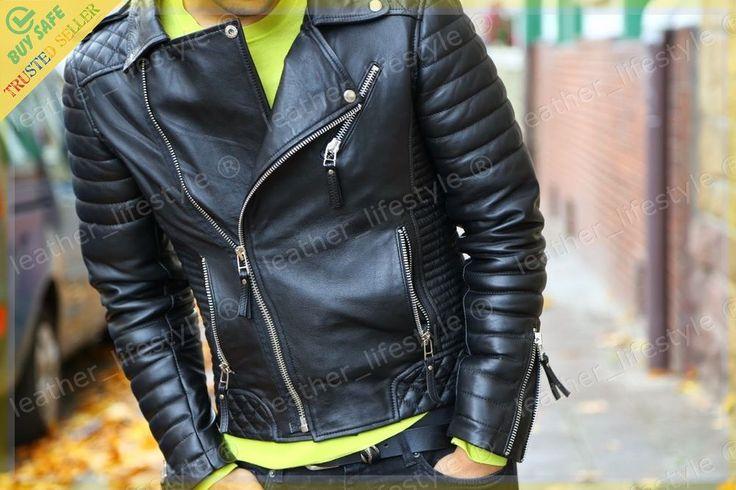 Men's Genuine Lambskin Leather Motorcycle Jacket Biker Jacket Designer fit MJ13 #LeatherLifestyle #Motorcycle #PerfectforMotorcycleandWinter