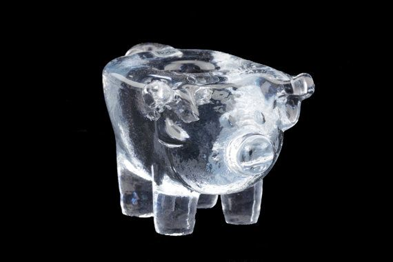 Kosta Boda Crystal Pig Figurine / Candle Holder.. by fcollectables