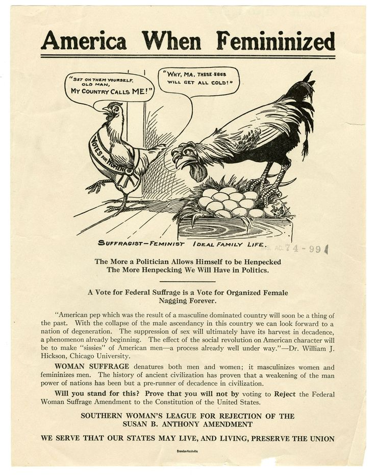 """America When Femininized. In this Anti-Suffrage cartoon, Mother hen walks out on her eggs leaving the rooster to set them.  Giving women the right to vote would make men """"sissies"""" and doom civilization."""