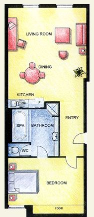 one bedroom executive apartment floor plan