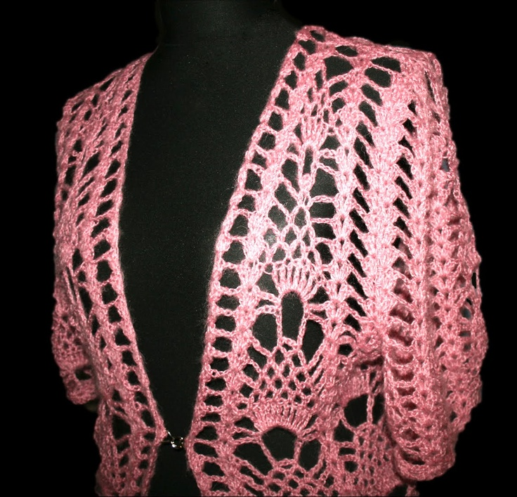 pink crochet bolero
