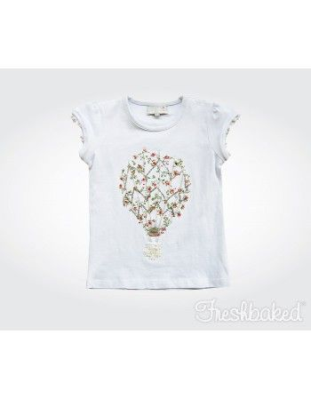 Freshbaked | Sweet Rosettes Tee - Crochet Detail - White