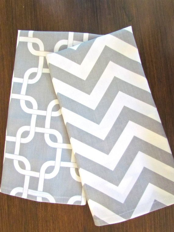 Lovely GRAY CHEVRON TEA Towels Set Of 2 Chevron Tea Towel Gray Hand Towels Kitchen  Wedding Gifts