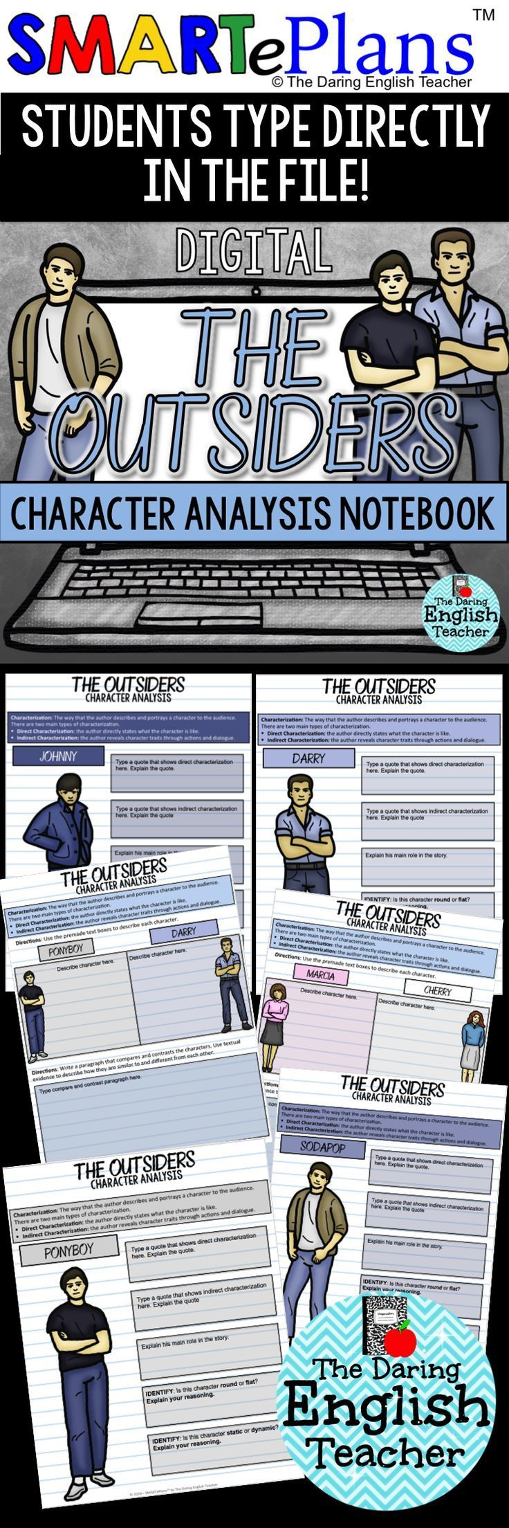 "Digital character analysis graphic organizers for S.E. Hinton's novel, ""The Outsiders."" Teach direct and indirect characterization and more in your middle school and high school English classroom."