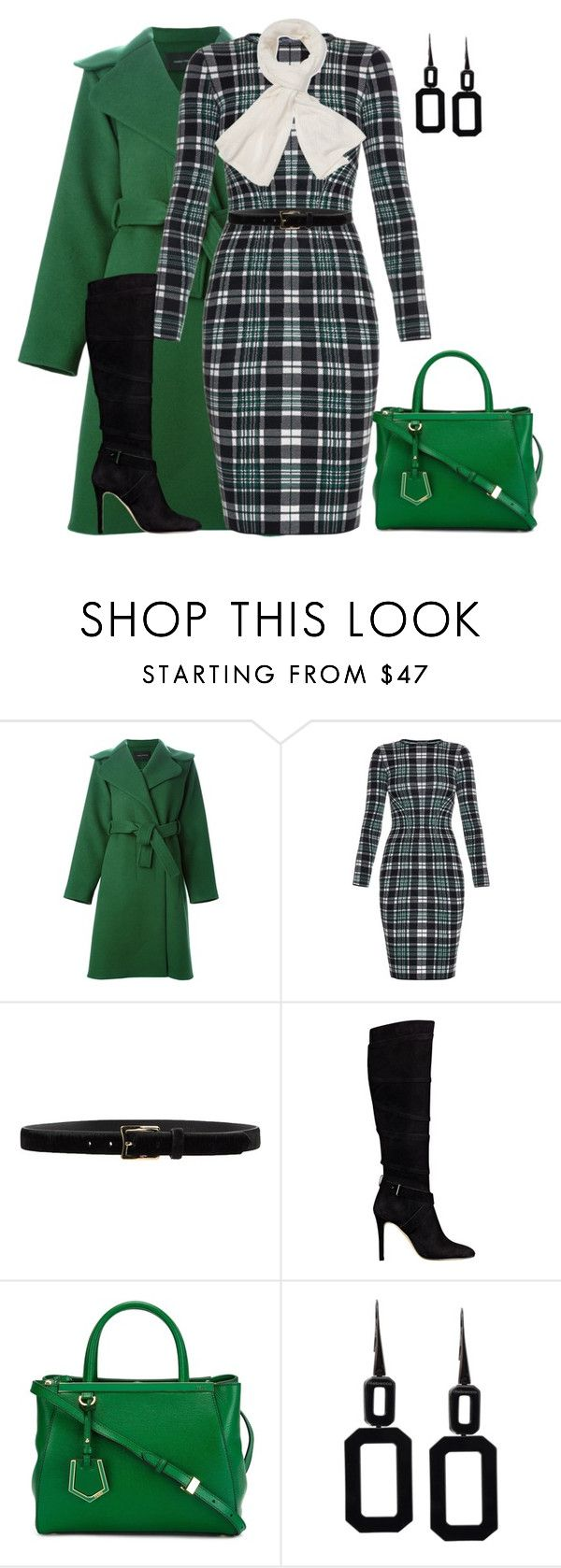 """outfit 2373"" by natalyag ❤ liked on Polyvore featuring Cédric Charlier, Alexander McQueen, D'Amico, GUESS, Fendi, Rebecca and Magaschoni"