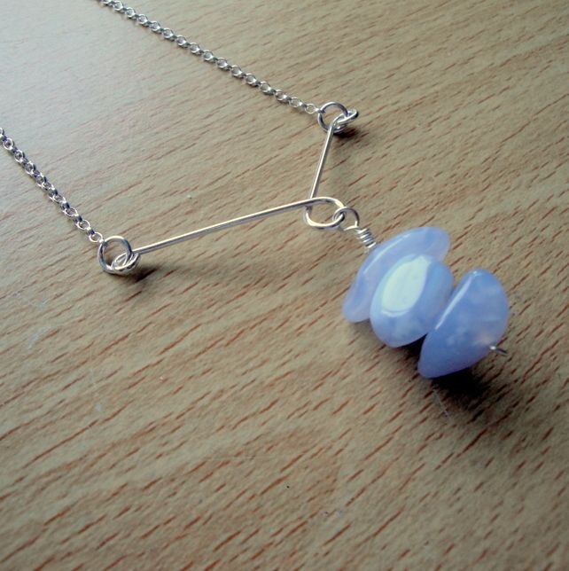 Chalcedony and Sterling Silver Pendant Necklace