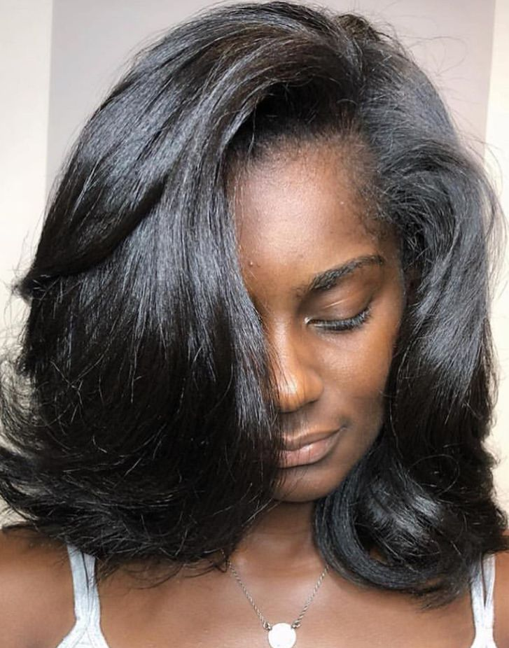 Silk press   Long thin hair, Medium length hair styles ...
