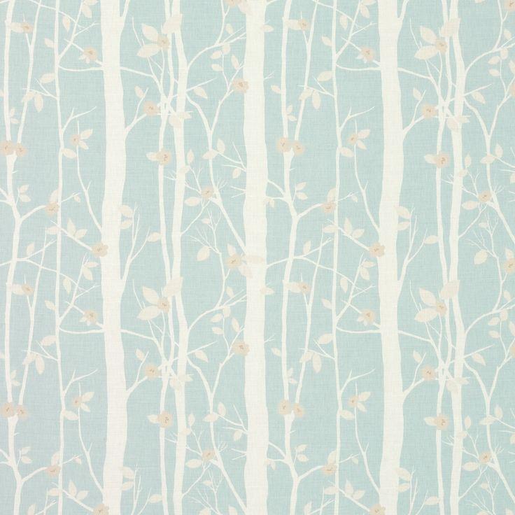 Cottonwood Floral Linen/Cotton Fabric Duck Egg