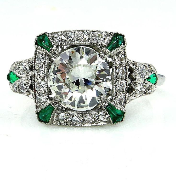 Early Art Deco 2.08ct OLD Euro Diamond and Green Emerald Platinum from treasurlybydima on Ruby Lane