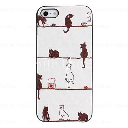 [EUR € 2.75]  - Fantasia preguiçoso Padrão PC Hard Case Mundo gato com moldura preta para iPhone 5/5S
