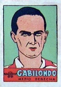 Gabilondo. Atlético de Madrid. 1941-42. Cromos Bruguera. Medio derecha titular.