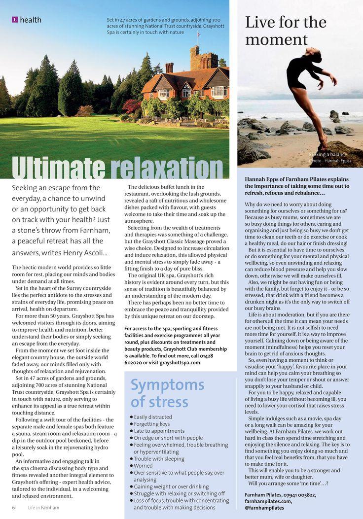 Ultimate relaxation at Grayshott Spa, and essential advice for the perfect work-life balance from Farnham Pilates... #locallife #Grayshott #Farnham #spa #health #fitness #wellness #balance