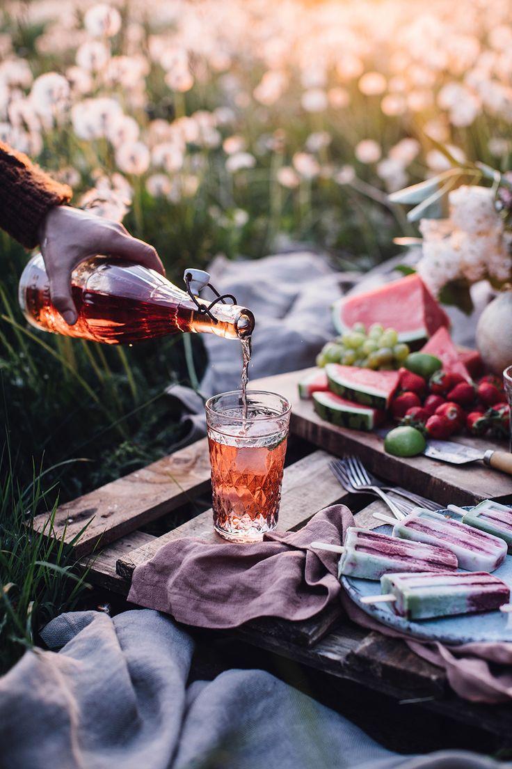 Summer Picnic & Vegan Rhubarb-Matcha-Coconut-Popsicles – Farah