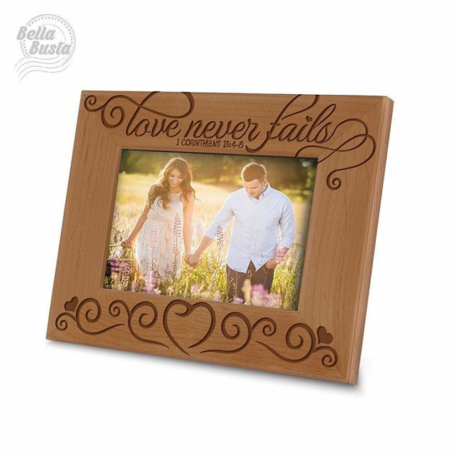 """A perfect Picture frame with the"""" bible quote 1 Corinthians 13:4-8( Love Never Fails) """"for wedding gift, engagement gift, Family, Friends, baby gift, and etc 💙💛💚💙💛💚#laserengraving #wedding #woodworking #woodburning #woodensign #artwork #decoration #gift #gifts #amazon #customize #costomdesign #quote #decoration #uniquebabygift #giftshop #giftbox #giftwrapping #bestgifts #bestgiftever #bestquality #bibleverse #biblequotes #bible #biblejournaling #corinthians #corinthians13 #lovequotes…"""