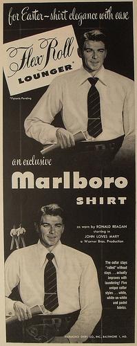 1940s Vintage Movie Poster RONALD REAGAN menswear shirts Marlboro men's fashion illustration ADVERTISEMENT Hollywood by Christian Montone, via Flickr