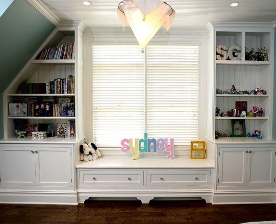 Built In Shelves Around Floor Window