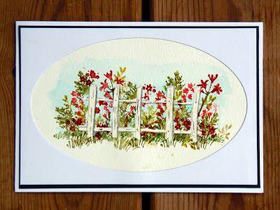 Snö och kallt, men i bloggen kan jag styra själv. Därför kommer det här blomsterkort gjorda med Art Impressions watercolor stämpelset. Sc...