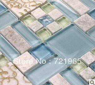 Blue Glass mosaic tile backsplash kitchen wall sticker SGMT039 glass stone mosaic bathroom tiles $266.15
