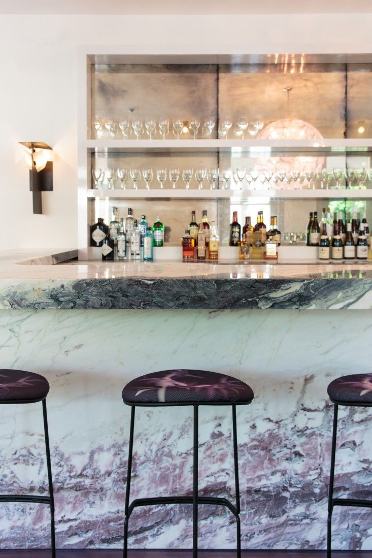 Marble - The Corner bar/restaurant at Hotel Tivoli in Tivoli, NY, owned by artists Brice and Helen Marden, designed by Reunion Goods & Services | Remodelista
