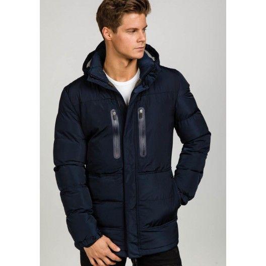 Tmavo modrá dlhá pánska zimná bunda - fashionday.eu