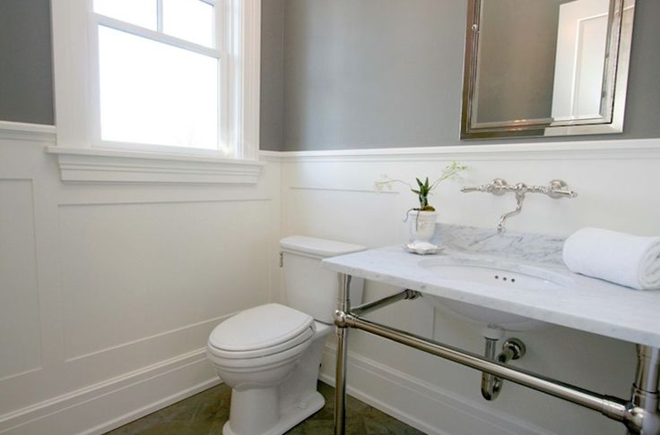 Source milton development modern bathroom with gray paint Images of wainscoting in bedrooms