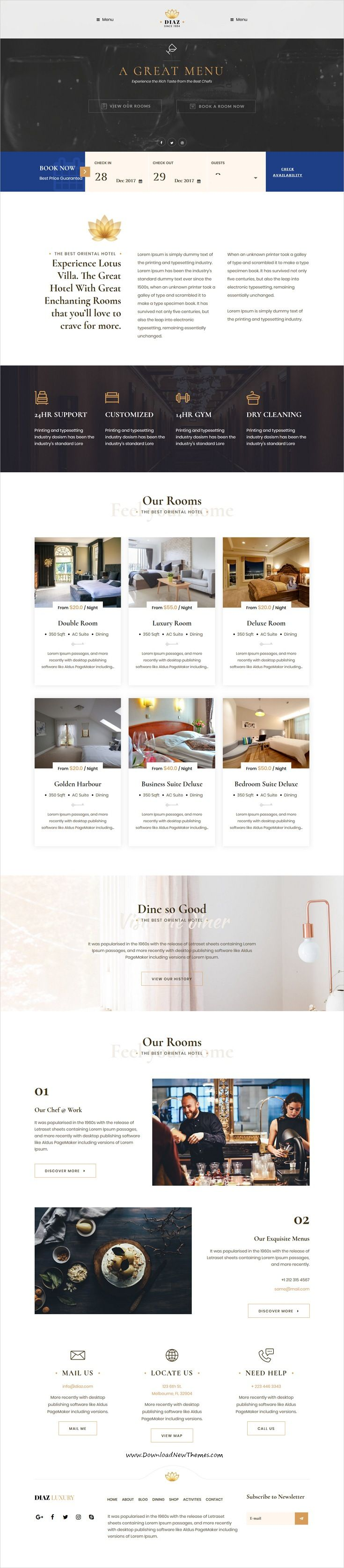 Diaz is clean and modern design 3in1 responsive WordPress #template for #hotel and #resort online booking #website to live preview & download click on Visit 👆